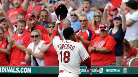 Taveras salutes the home crowd after his first Major League home run.