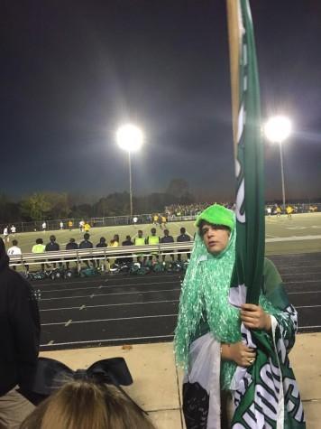 Senior Green Pit leader, Cameron Ebling focusses near halftime of the 2015 District Championship against Lindbergh at Oakville High School.