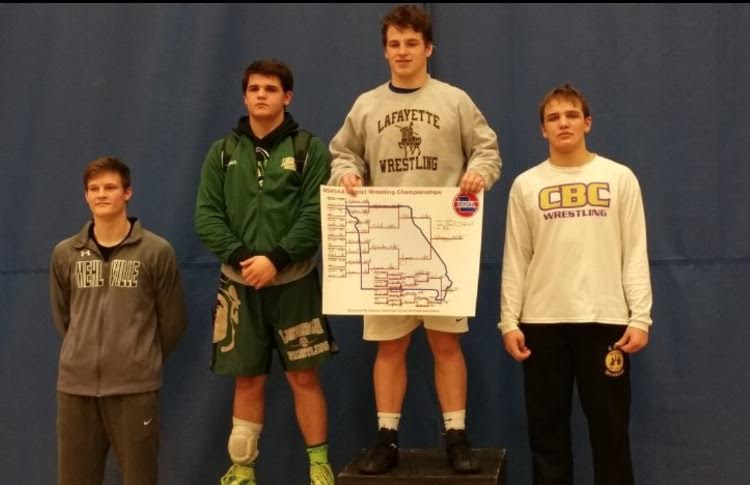 Tim Ghormley placing 4th in Districts to qualify for the State tournament. (Photo Courtesy of: Mehlville Wrestling Twitter)