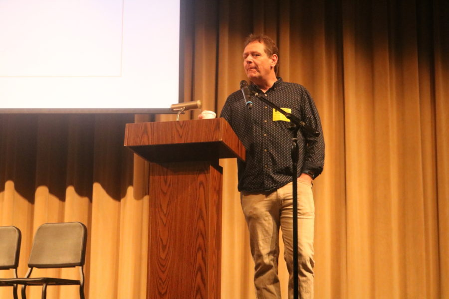 Featured Speaker and Author John Dalton speaks to MHS students.