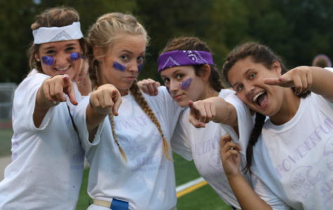 Juniors Kristen Bewen, Kira Coleman, Carly Glaser, and Melisa Muminovic pumped up for the Powderpuff Game