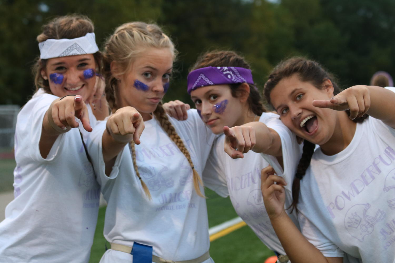 Juniors Kristen Bewen, Kira Coleman, Carly Glaser, and Melisa Muminovic pumped up for the Powderpuff Game