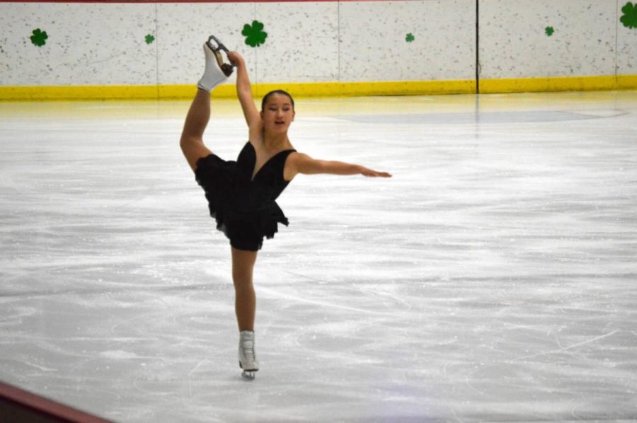 Amanda Langer skating for a competition.