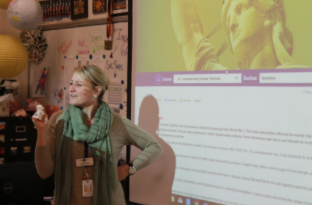 Samantha Drier teaching her History class.