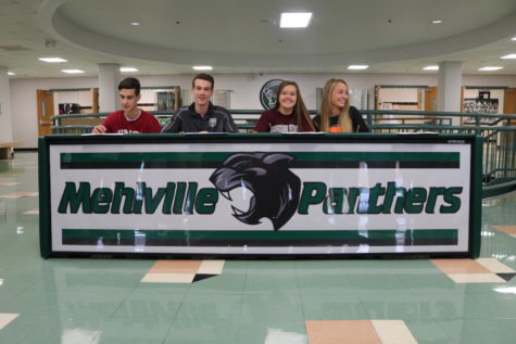 Mehlville Athletes commit to various colleges on National Signing day. From left to right: Micheal Oldani, Ryan Lively, Alyson Piskulic, and Kiera Coleman. by Erin Moeckel