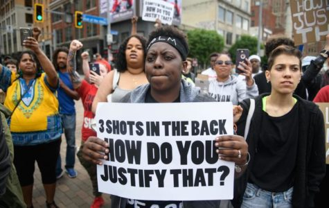 Chantel Wilkerson, 24, of Braddock Pennsylvania protests after Antwon Rose's funeral.