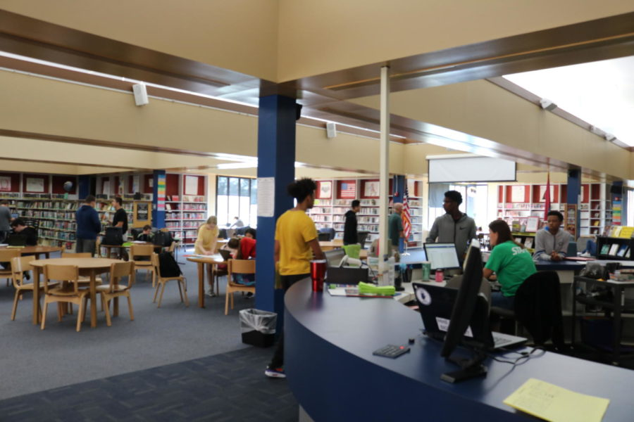 Students working in library during TAP.