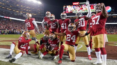 The number one seed San Francisco 49ers pose after a turnover.