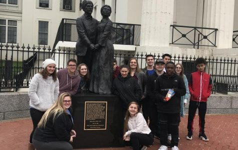 Students in Carrie Paul's St. Louis History class went to the Old Courthouse on a field trip
