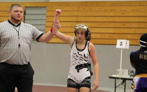 Anna Valleroy announced as winner in her wrestling match. Photo Courtesy of the Valleroy Family