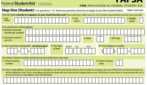 An example of what a FAFSA form looks like from the summer of this year.