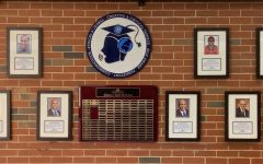 Mehlville High School Alumni Hall of Fame inductees on display by the library