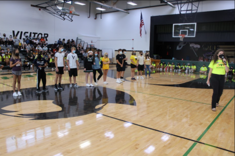 Freshmen compete in games during TAP.